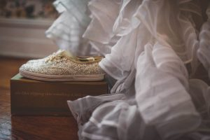 Bridal Shoes at Filhauer Lakehouse by photographer Kim Nix