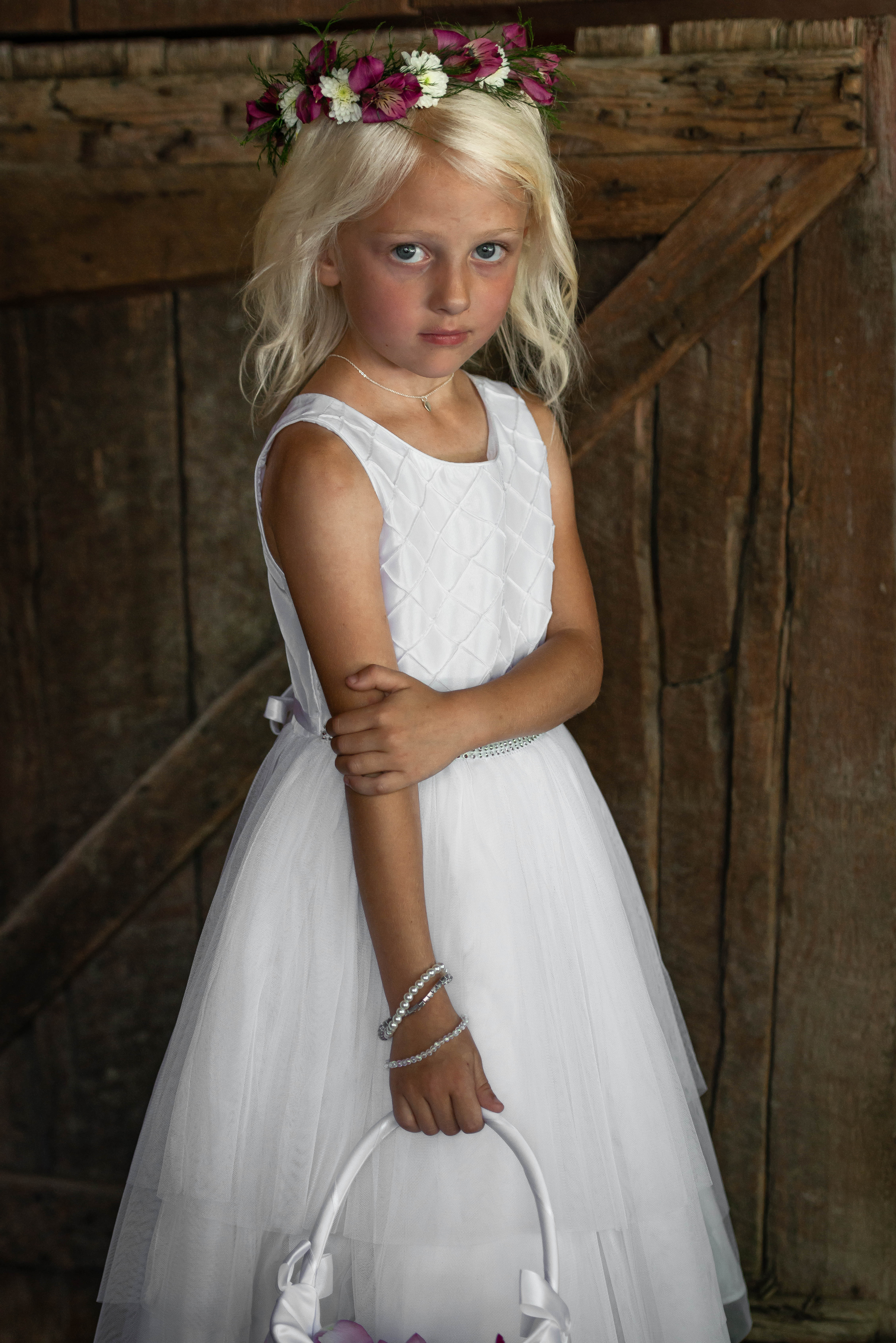 Little bridesmaid flower girl at Filhauer Lakehouse