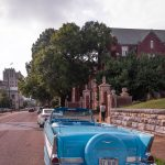 The getaway car outside of Patton Chapel, a wedding venue in Chattanooga.