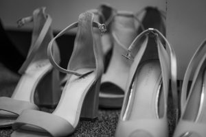 Bridal shoes in black and white by Chattanooga wedding photographer, Kim Nix at Patten Chapel.